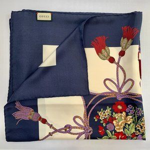 Gucci Flora and Rope Tassel Silk Scarf in Ivory